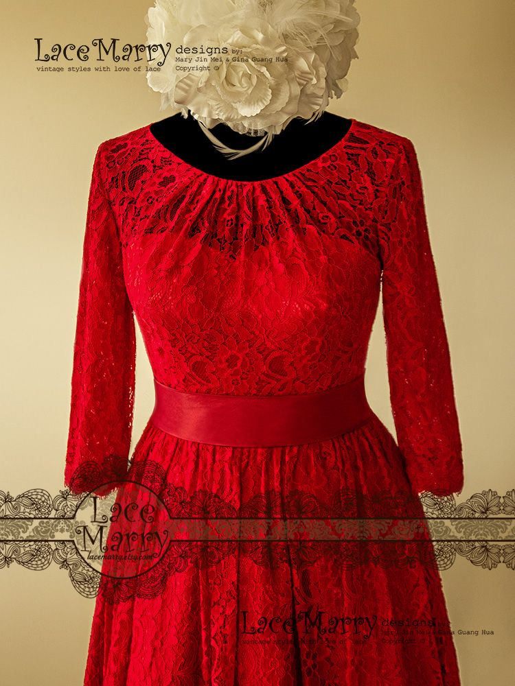 Excellent knee length red lace wedding dress with folded