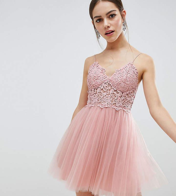 8c25feb064 Asos DESIGN Petite premium lace cami top tulle mini dress