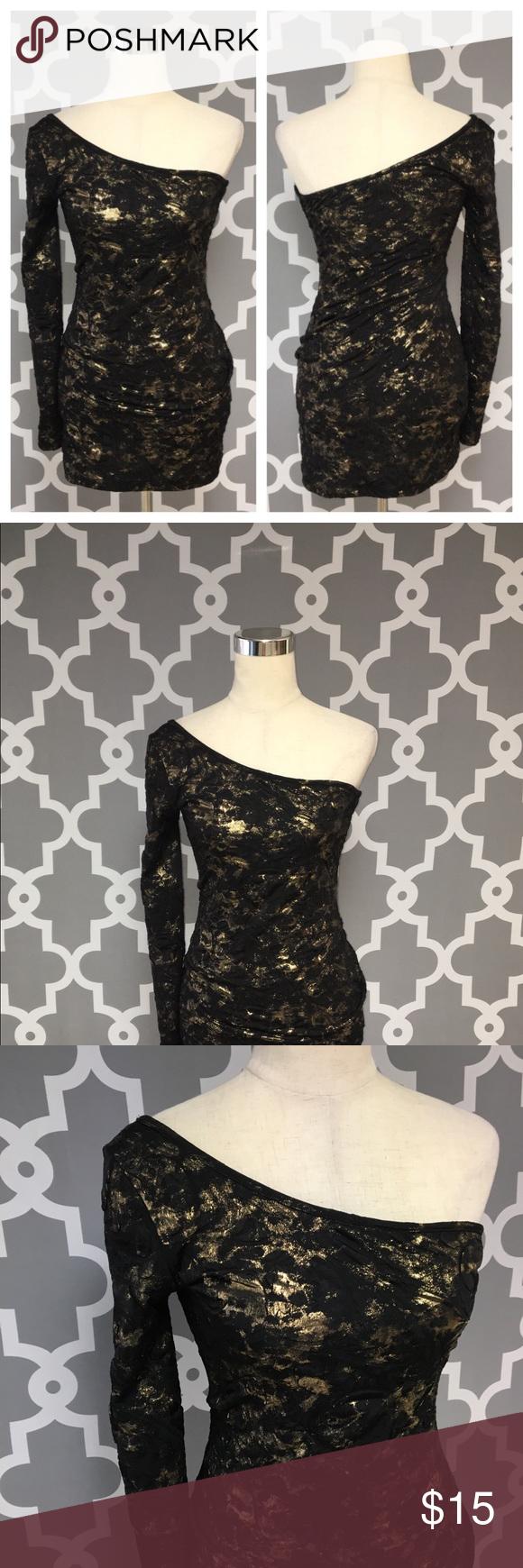 Forever sexy black gold one sleeve dress c my posh picks