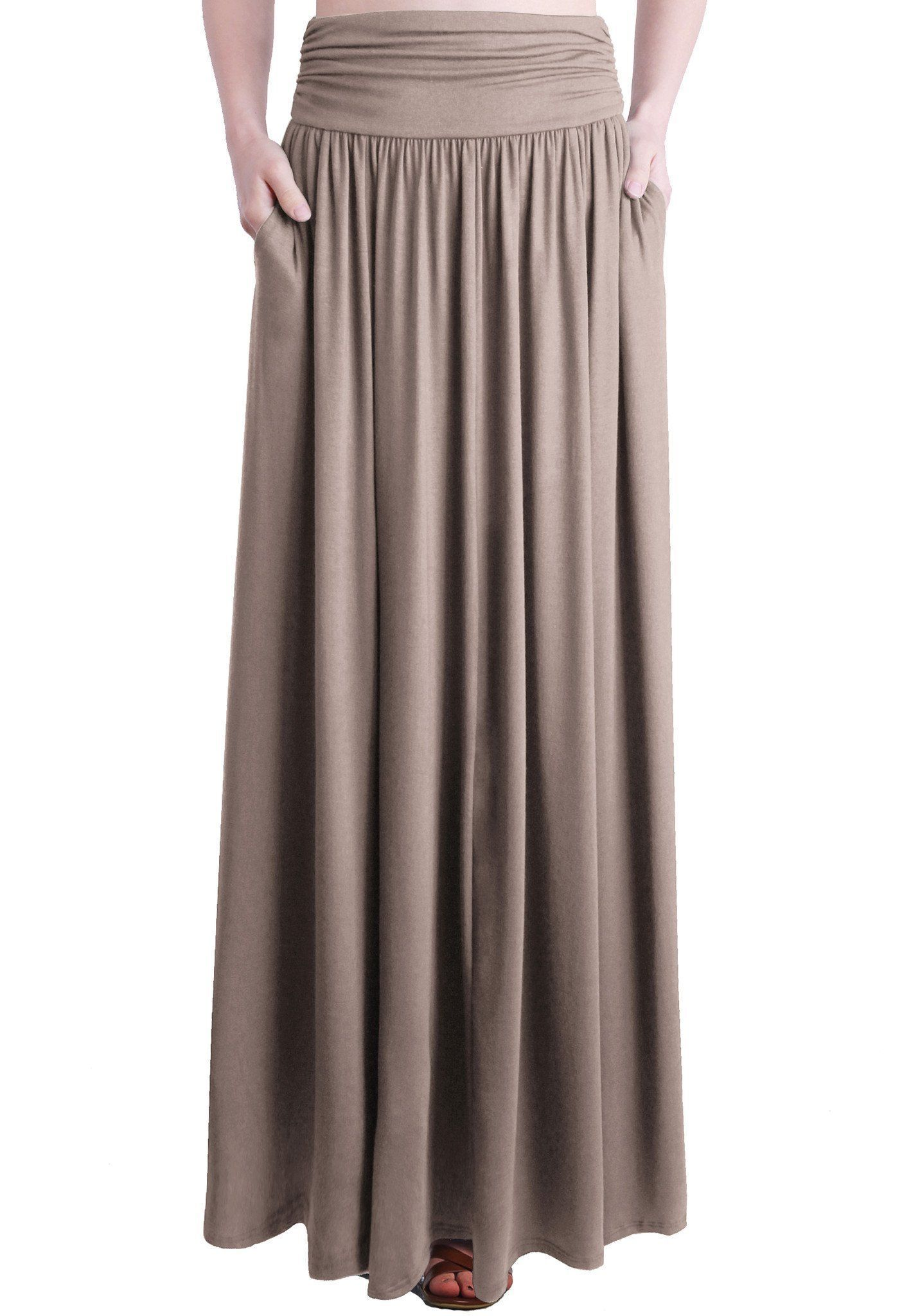 7371fcf8c2 Rayon Spandex High Waist Shirring Maxi Skirt With Pockets in 2019 ...