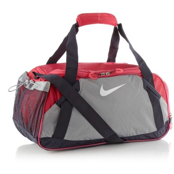 Nike pink Varsity medium holdall bag (44 CAD) ❤ liked on Polyvore featuring bags, sport, nike, accessories, torbe, water resistant bag, nike bag, pink sports bag and padded bag