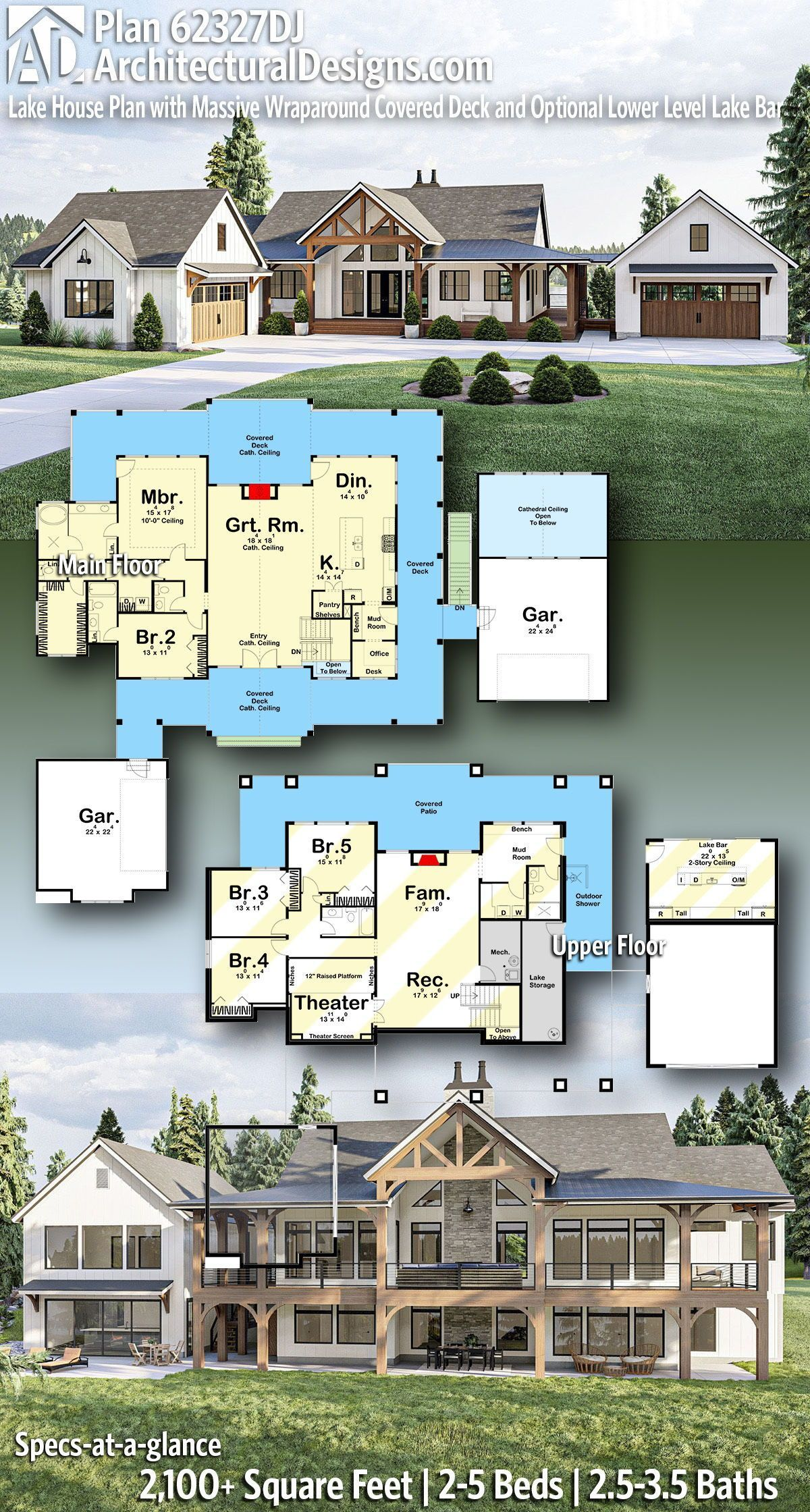 Plan 62327DJ: Lake House Plan with Massive Wraparound Covered Deck and Optional Lower Level Lake Bar
