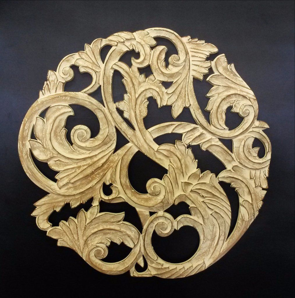 Elegant Wood Carved Decorative Wall Art Plaque Bec | Carved wood ...