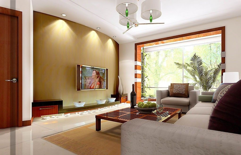Fascinating Living Room Decor Ideas With Recessed Lighting And TV Wall Also  Using White Floor Tiles