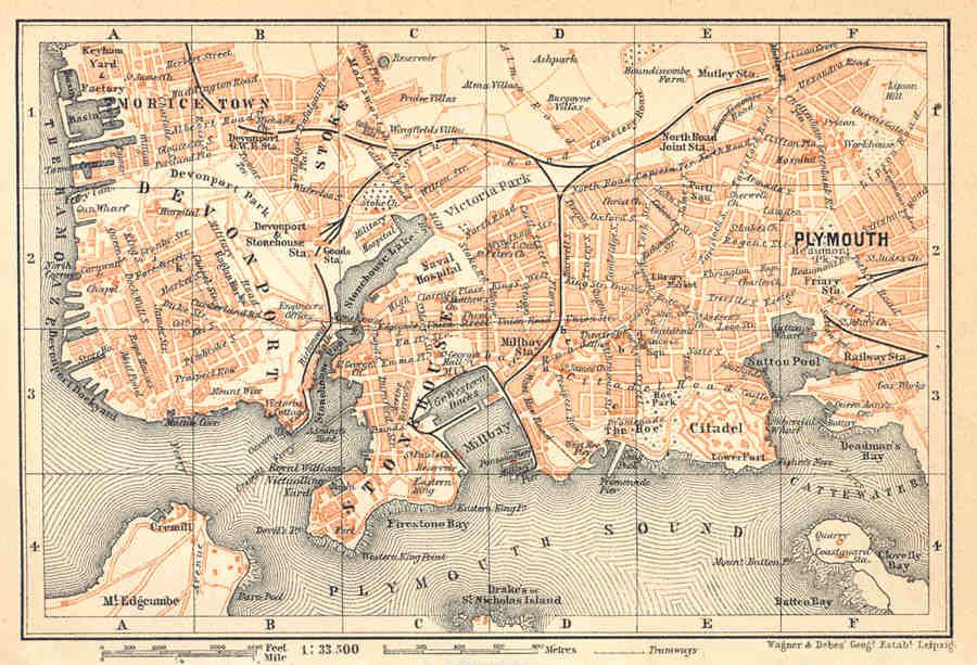 old plymouth map Devon 1910 PLYMOUTH Detailed Old Vintage Town