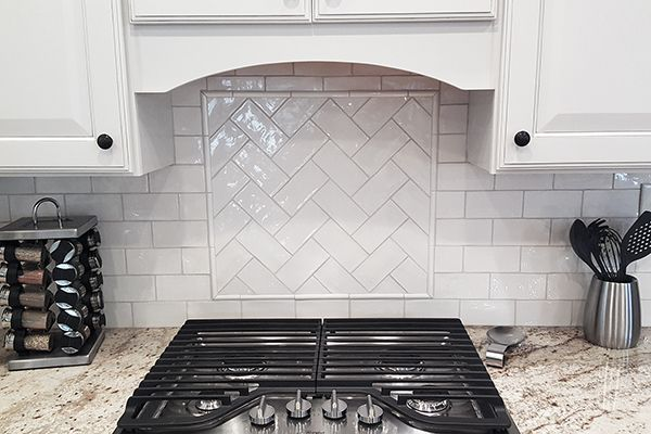 Tiled Kitchen Backsplash w/ Accent Frame. Tile and Installation by ...