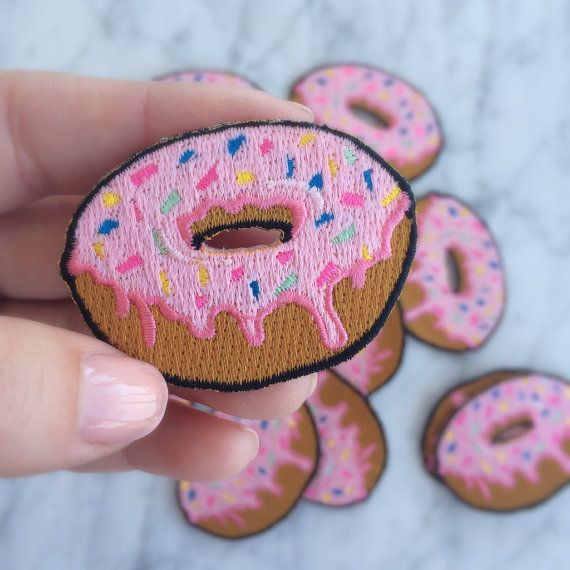 Donut Embroidered Patch Iron On Lique Pink Frosting Sprinkles Doughnut