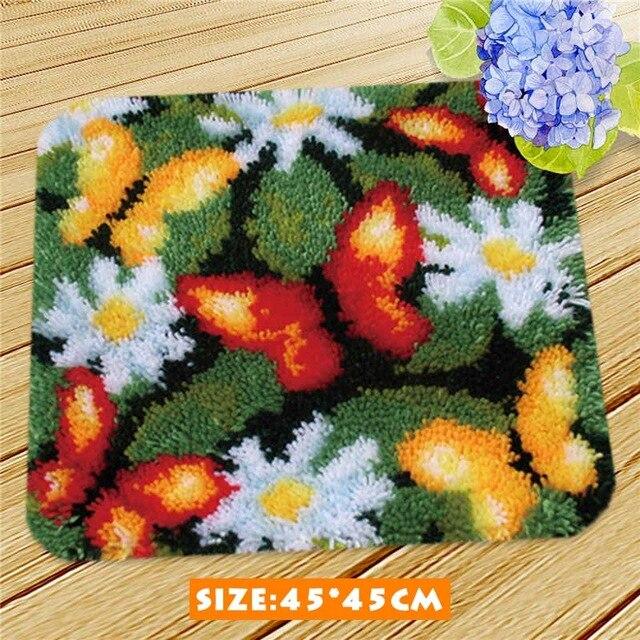 Cartoon Flower Latch Hook Rug Kit Unfinished Crocheting Rug Embroidery Carpet Handmade Floor Mat Carpets Li In 2020 Latch Hook Rug Kits Latch Hook Rugs Carpet Handmade