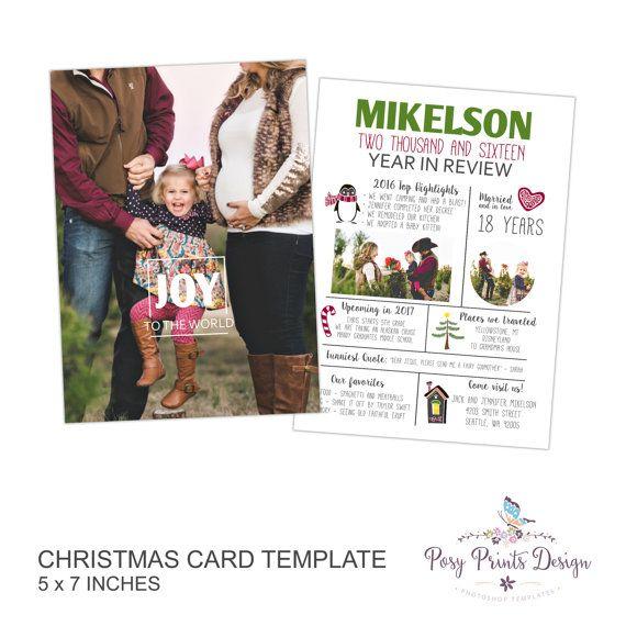 Weihnachtskarte Photoshop-Vorlage von PosyPrintsDesign auf Etsy ...