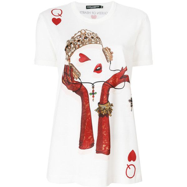 cdffaaf1 Dolce & Gabbana Queen Playing Card print T-shirt ($380) ❤ liked on Polyvore  featuring tops, t-shirts, white, print tees, white cotton t shirts, slim  fitted ...