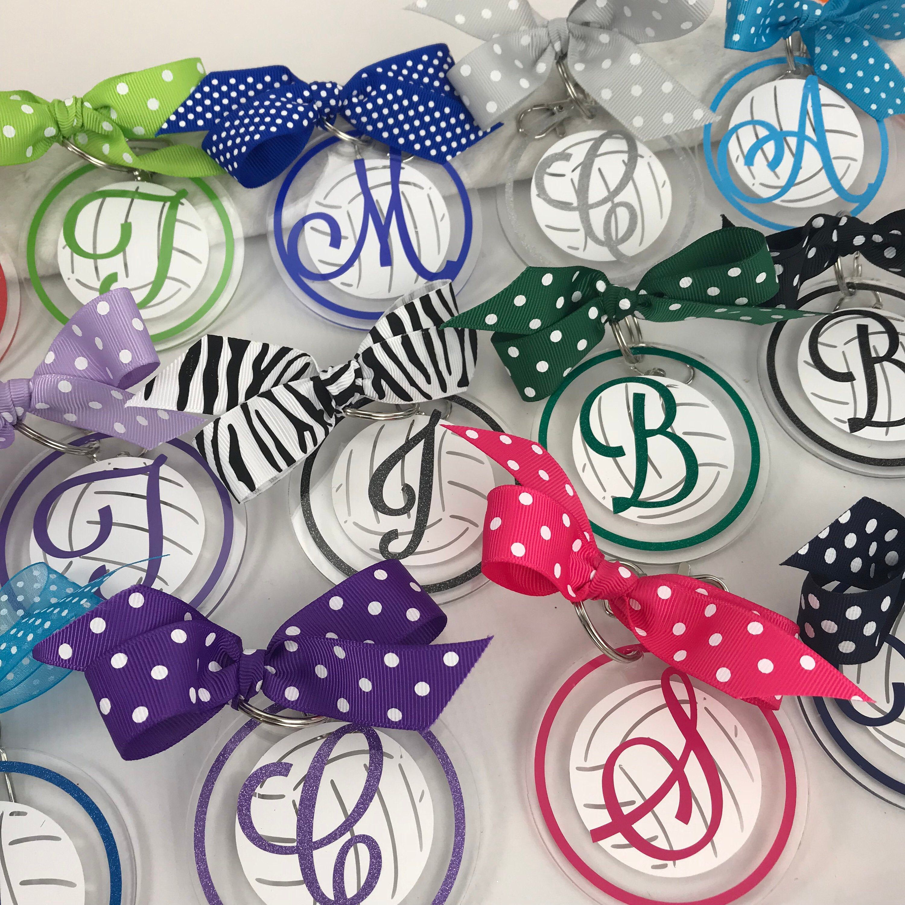 Volleyball Bag Tag With White Ball And Fancy Script Initial Volleyball Gift Personalized Monogrammed Gemlights Personalized Gifts Volleyball Gifts Bags Volleyball