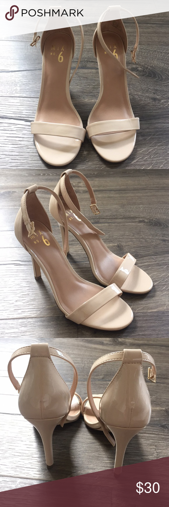 7a3594b82 6 beige patent leather Lina heels Never worn beige patent leather open