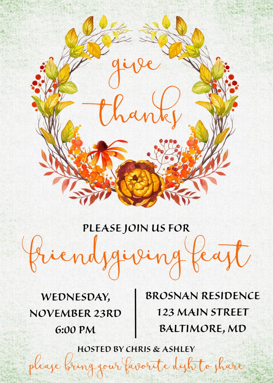 friendsgiving invitation  friendsgiving potluck  fall wreath invitation  give thanks