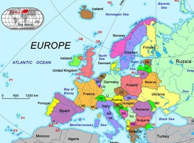 Europe Map With Oceans  Thefreebiedepot