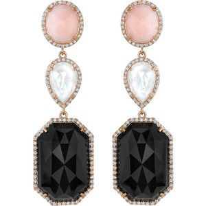 Irene Neuwirth Pink Opal, Onyx, Moonstone & Diamond Drop Earring