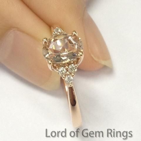 Oval Morganite Engagement Ring Pave Diamond Wedding 18k Rose Gold 5x7mm - Lord of Gem Rings - 1
