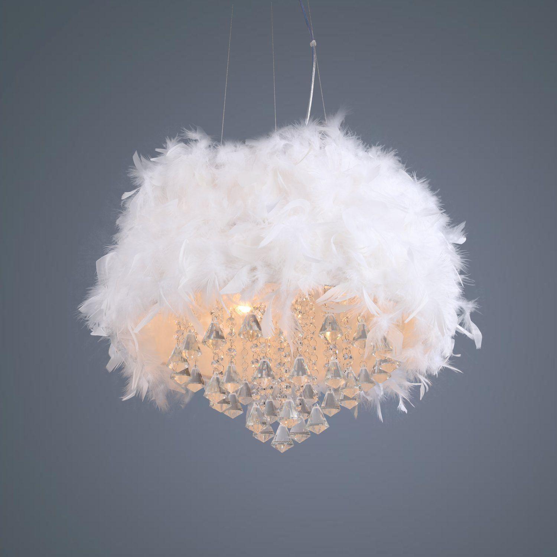 LightInTheBox Drum Modern Luxuriant White Feather Chandelier with