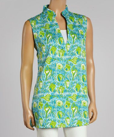Love this Blue Seashell V-Neck Sleeveless Top - Women by Barbara Gerwit on #zulily! #zulilyfinds