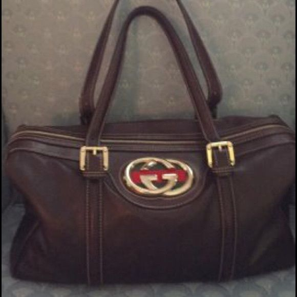 Gucci Britt chocolate brown satchel bag Final | Logos, Final sale ...