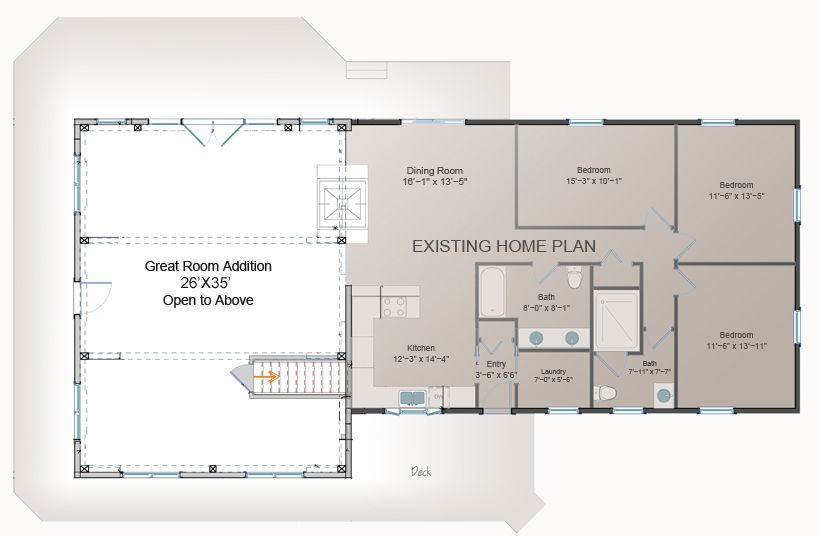 Great room addition plan post and beam addition barn for Additions to homes floor plans