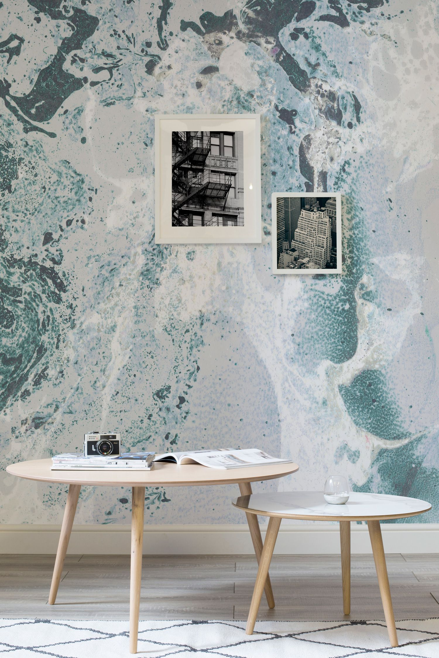 Teal white and blue marbleized wallpaper mural teal for Teal wallpaper living room