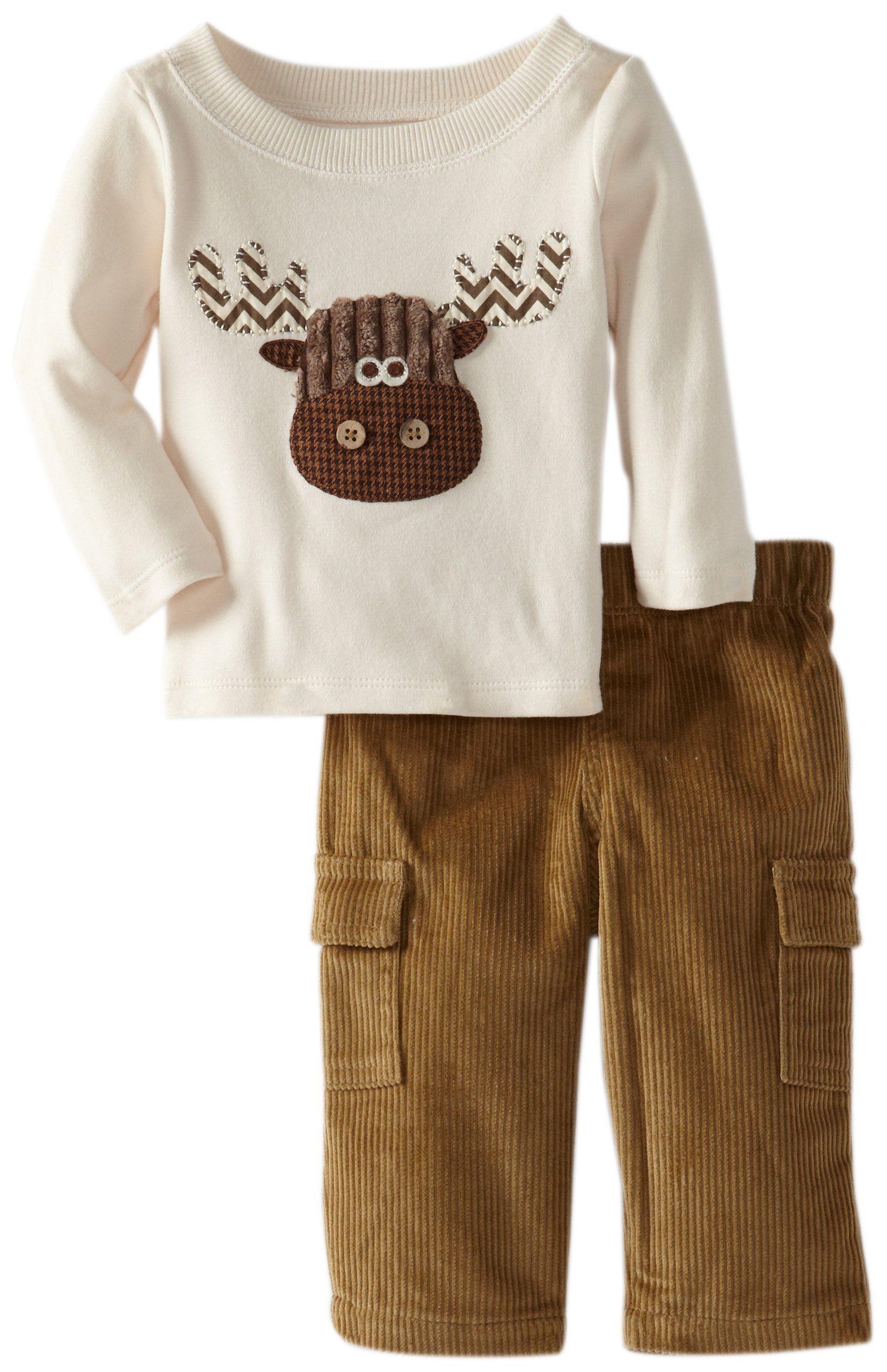 Mud Pie Baby Boys Newborn Forest Friends Moose Pant Set Multi 12