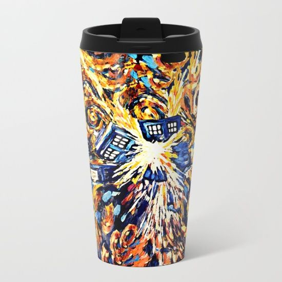 Exploded with Flame Blue phone Box METAL TRAVEL MUG #mug #metaltravelmug #metal #tardis #doctorwho #tardisdoctorwho #davidtennant #10thdoctor #vangogh #police #publiccallbox #starrynight