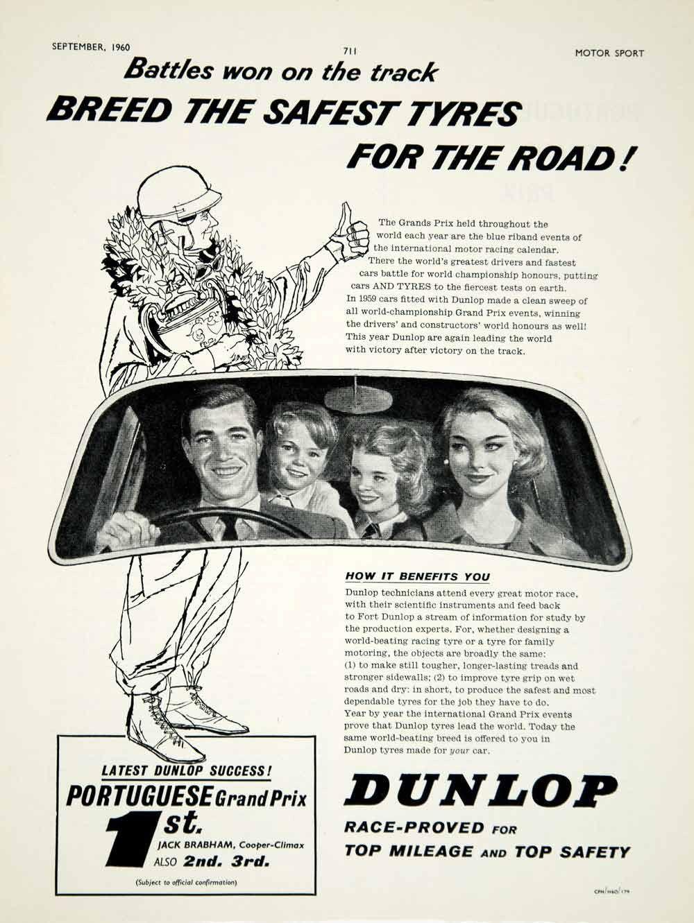 1960 Ad Dunlop Tyres Tires Car Auto Part Portuguese Grand Prix Jack Brabham YMT2