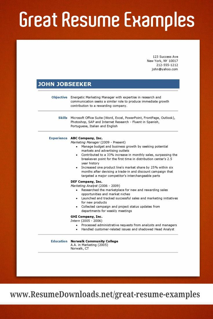 Good Resume Examples Good resume examples, Resume