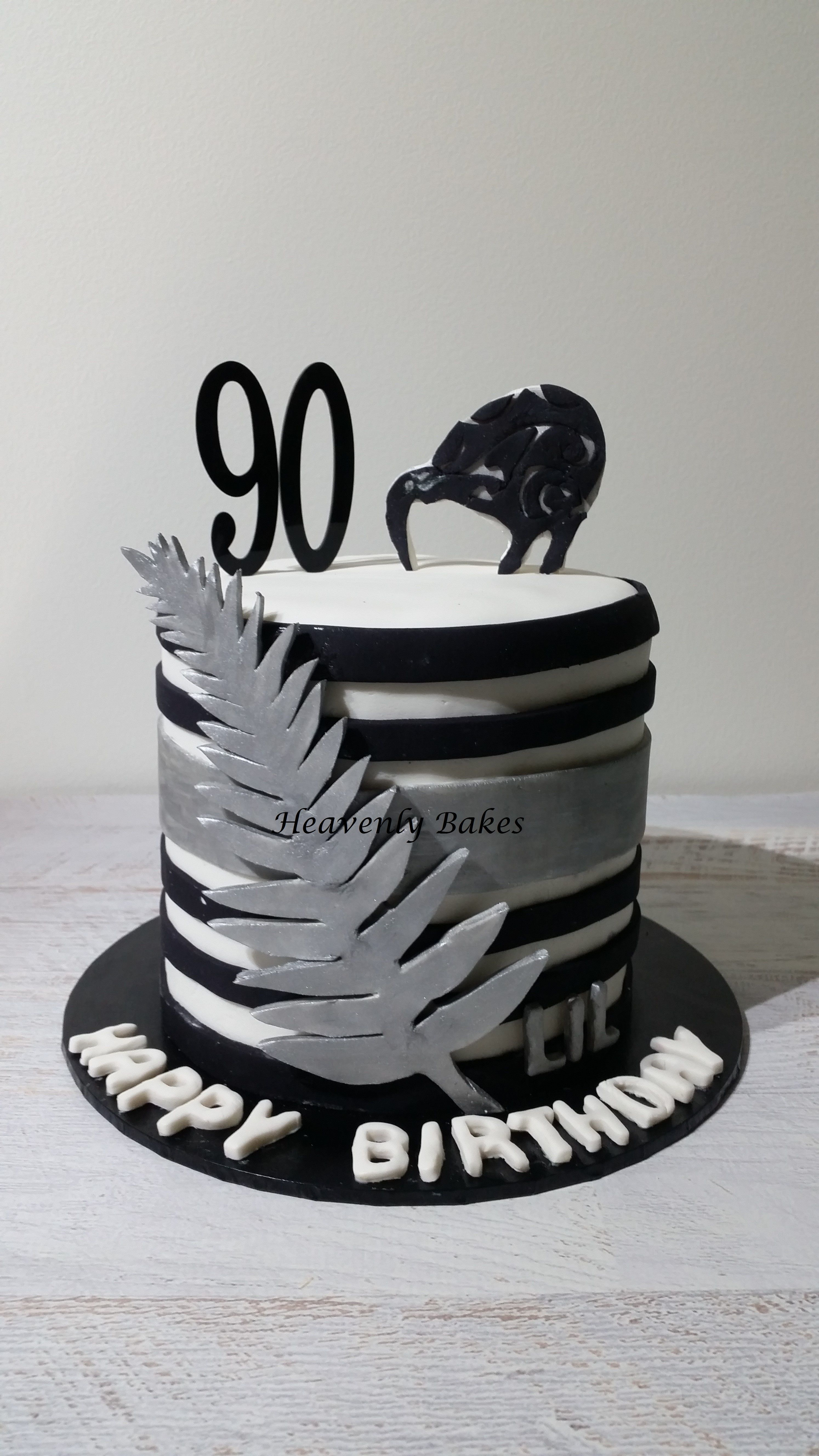 90th Birthday Cake New Zealand Themed Lemon With White Chocolate Ganache Layers Topped A Kiwi Bird And Silver Fern