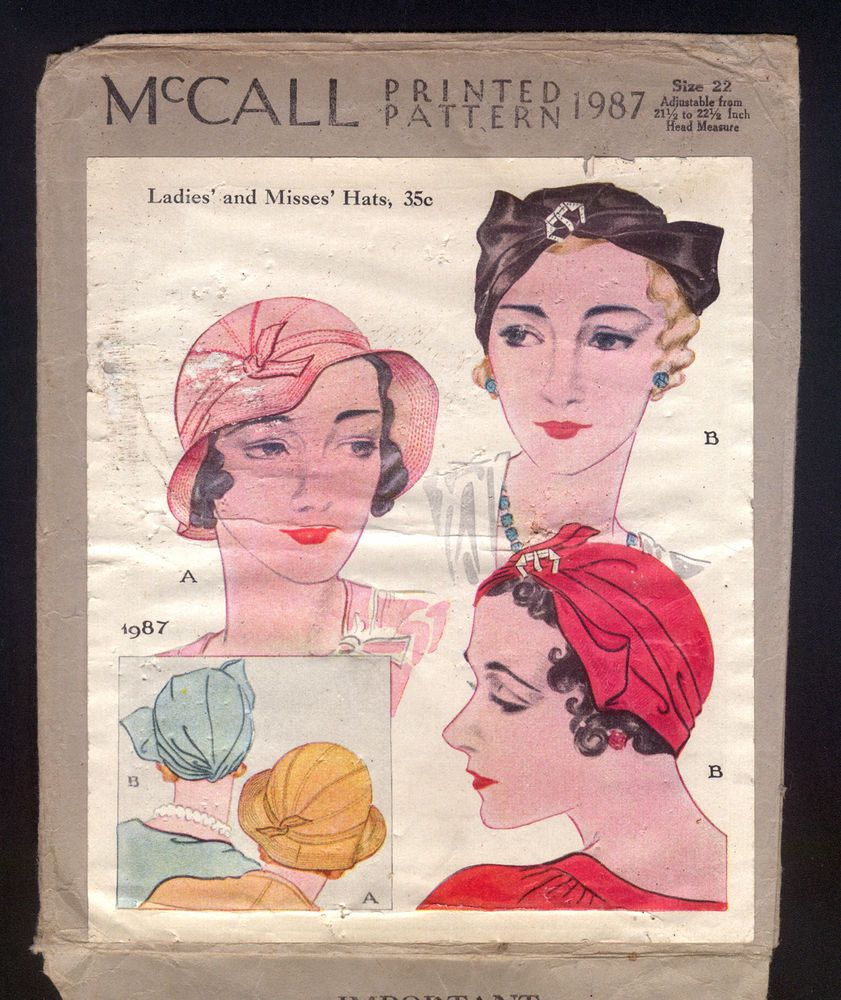 1932 McCall Pattern - Ladies\' Hats In Several Styles | Década de ...