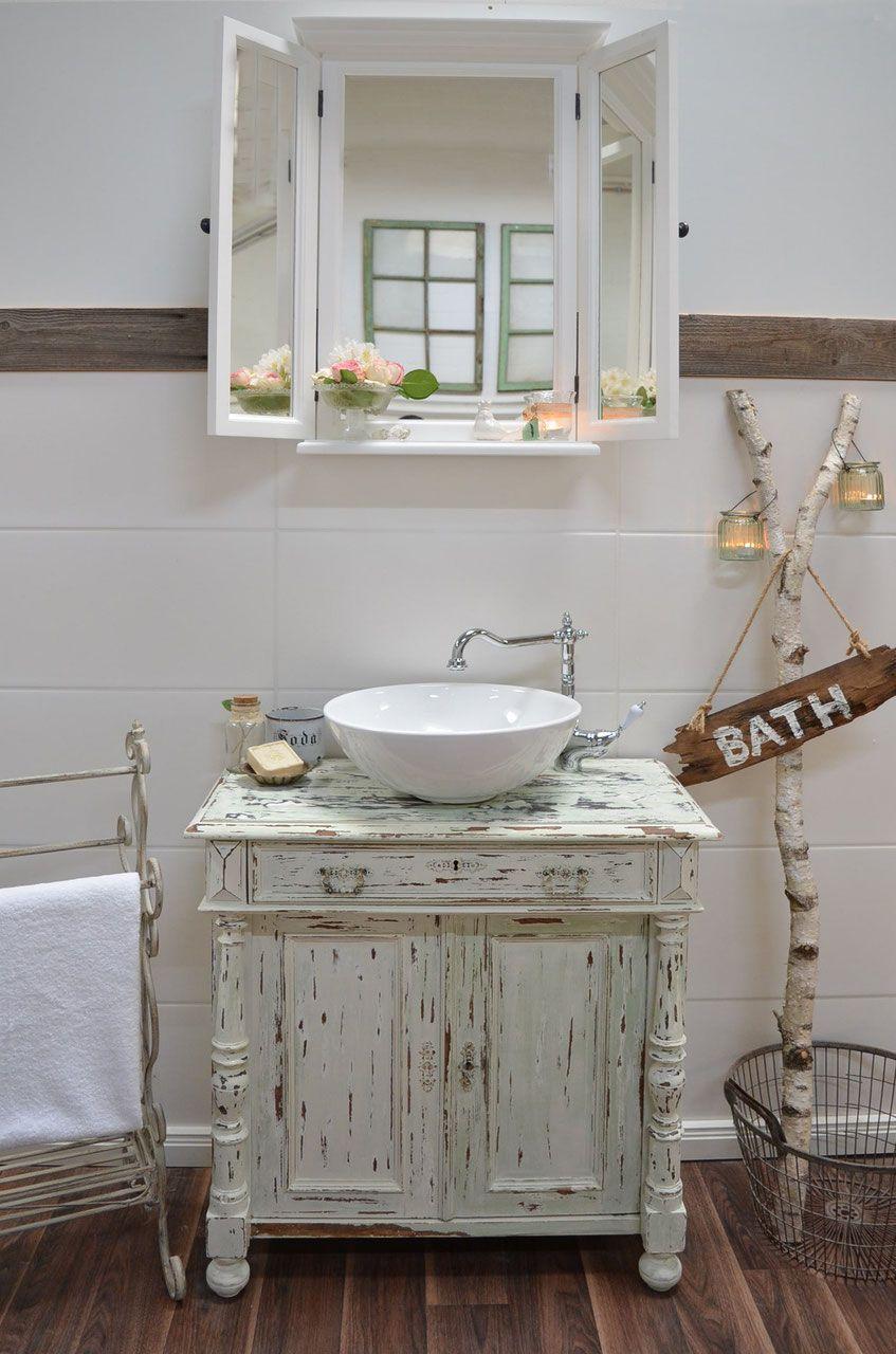 Waschtisch Unterschrank Shabby Vintage Waschtisch Badezimmer Rustikal Badezimmer Landhausstil