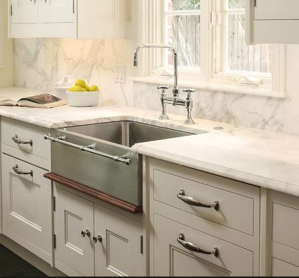 Embellished Farm Sinks   Julien Stainless Steel Farm Sink With Integral  Towel Bar   Wolf
