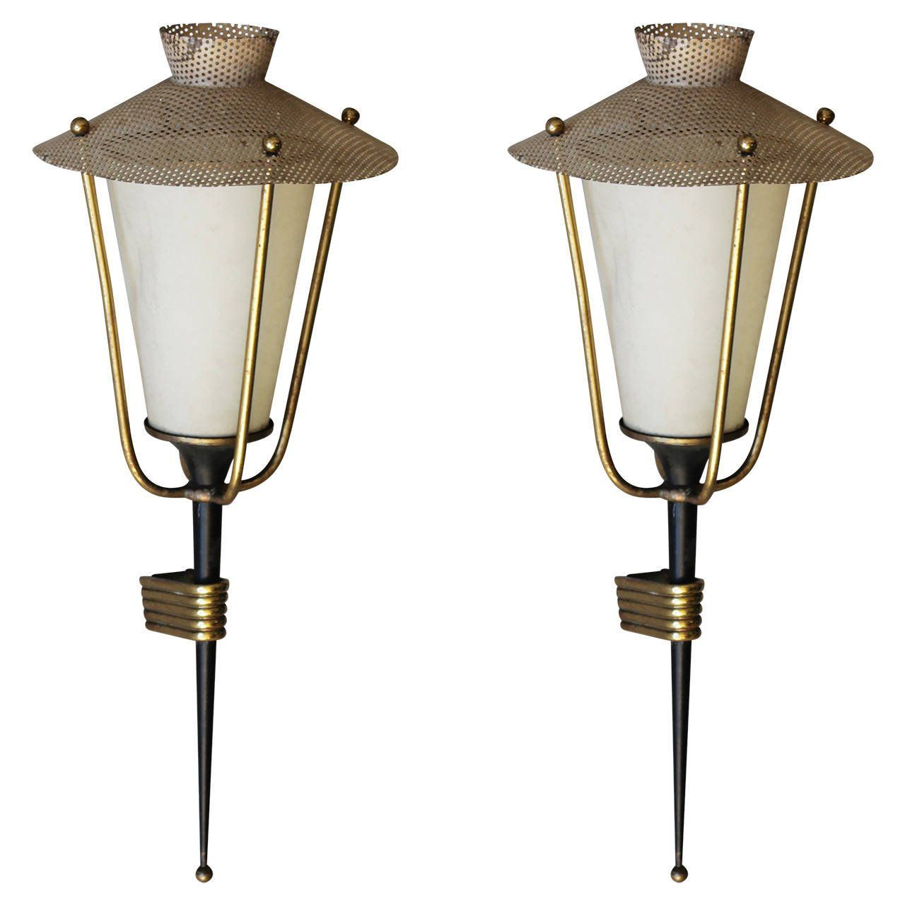Pair Of Corner Mounted Sconces By Maison Arlus Sconces French Art Deco Wall Lights