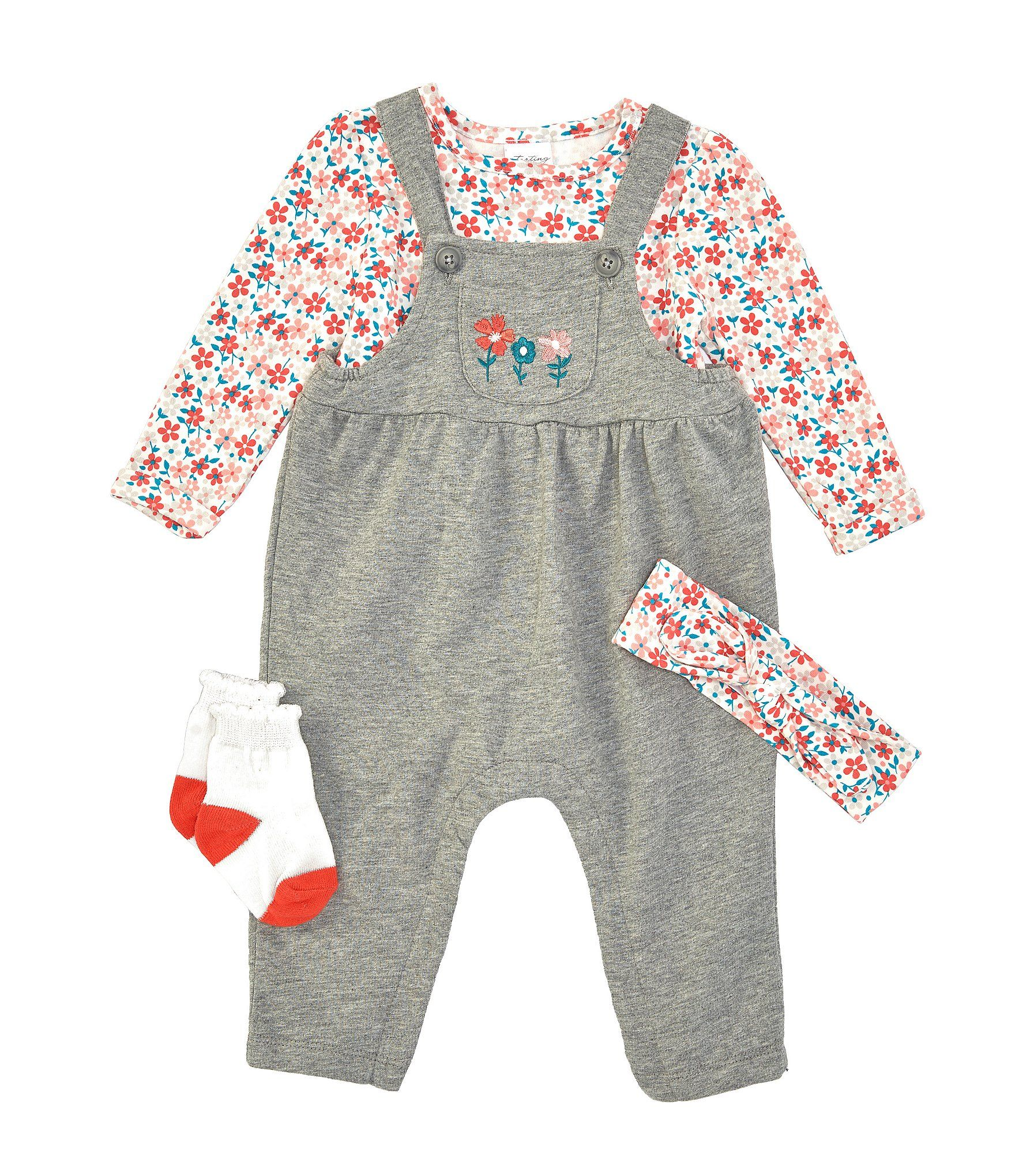 Photo of Starting Out Baby Girls Newborn-9 Months Floral Overall 4-Piece Layette Set | Dillard's