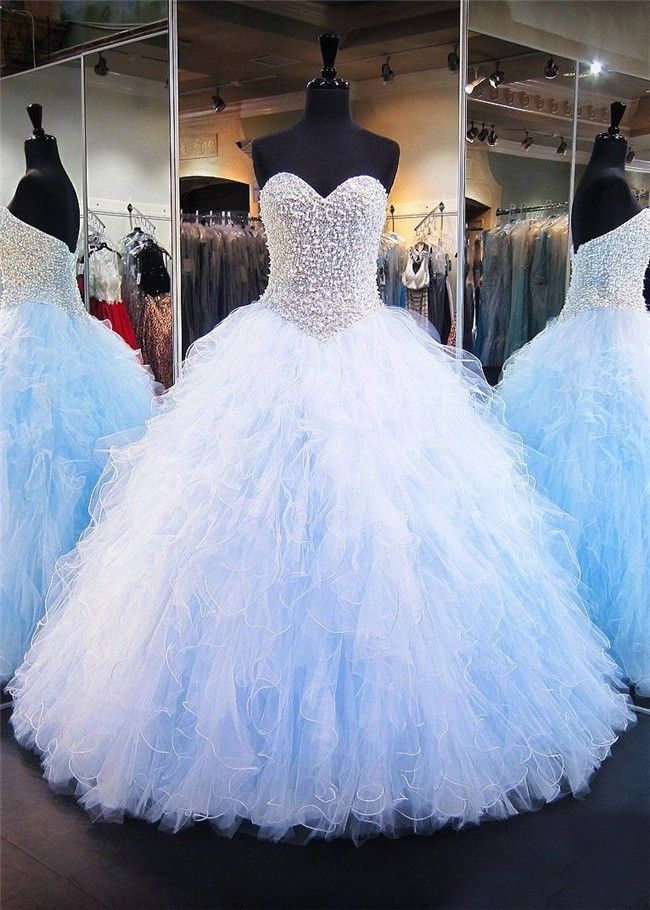 Ball Gown Sweetheart Light Blue Tulle Ruffle Pearl Puffy