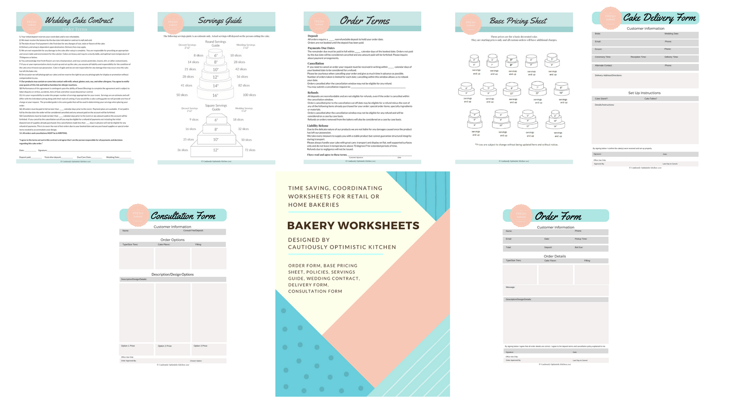 Premade Bakery Worksheets Packet