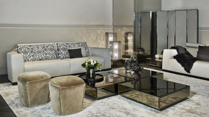Designer Coffee Tables Fendi Casa Mirror Tables Poufs Sofa Living Room