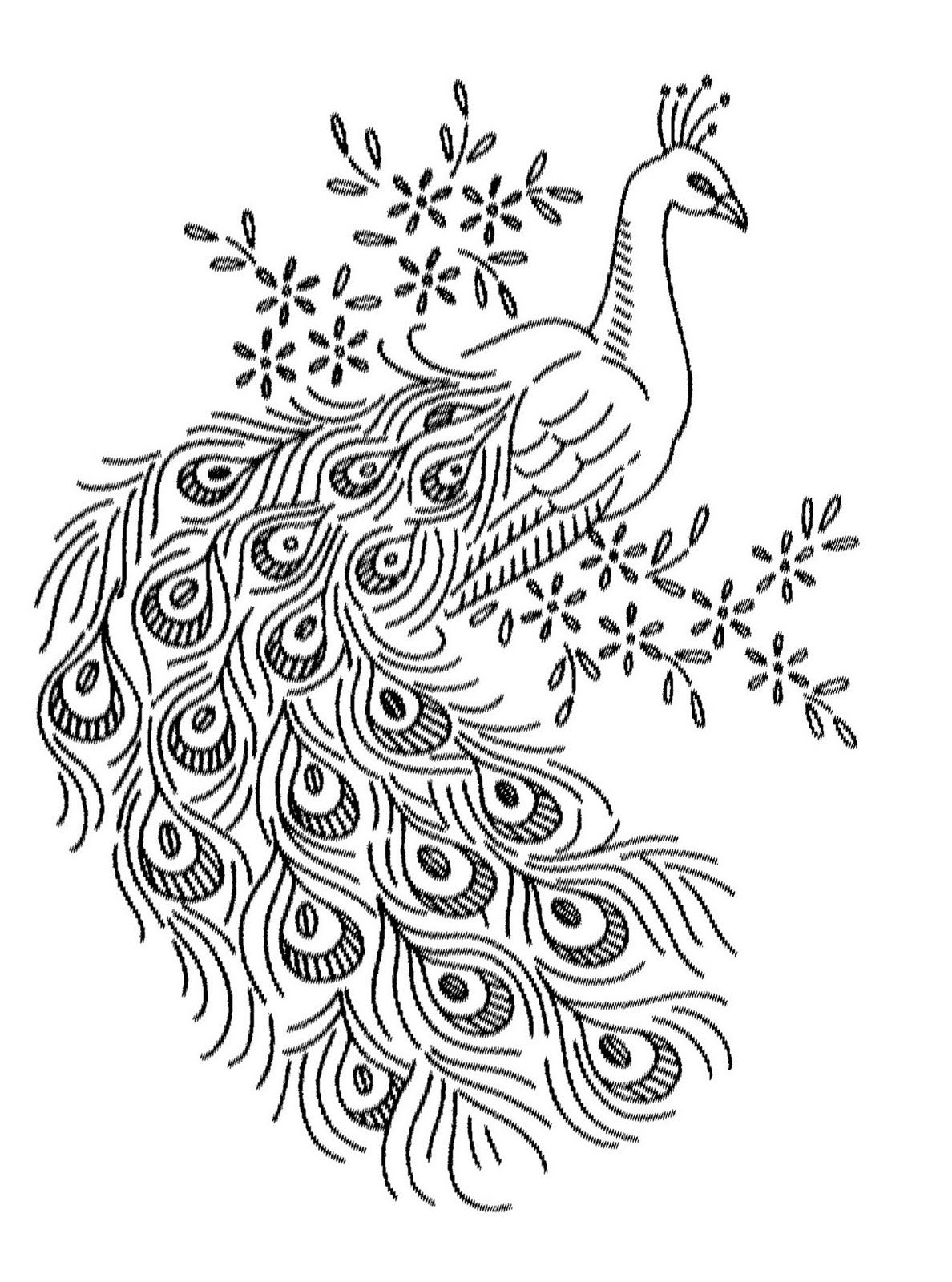 Free peacock embroidery pattern from Vintage Spice and