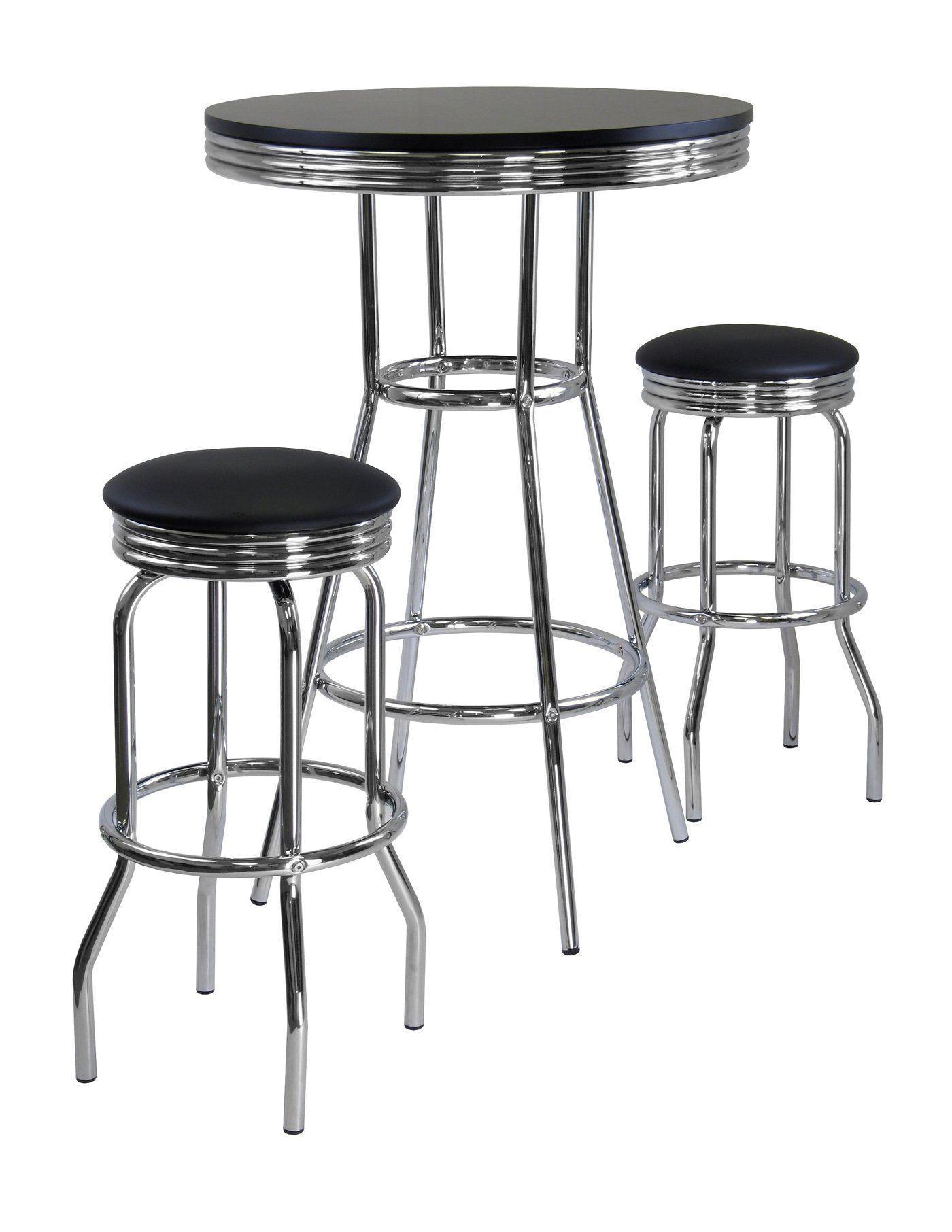 Summit 3 Pc Round Table With Two Swivel Barstools Pub Set Black Chrome