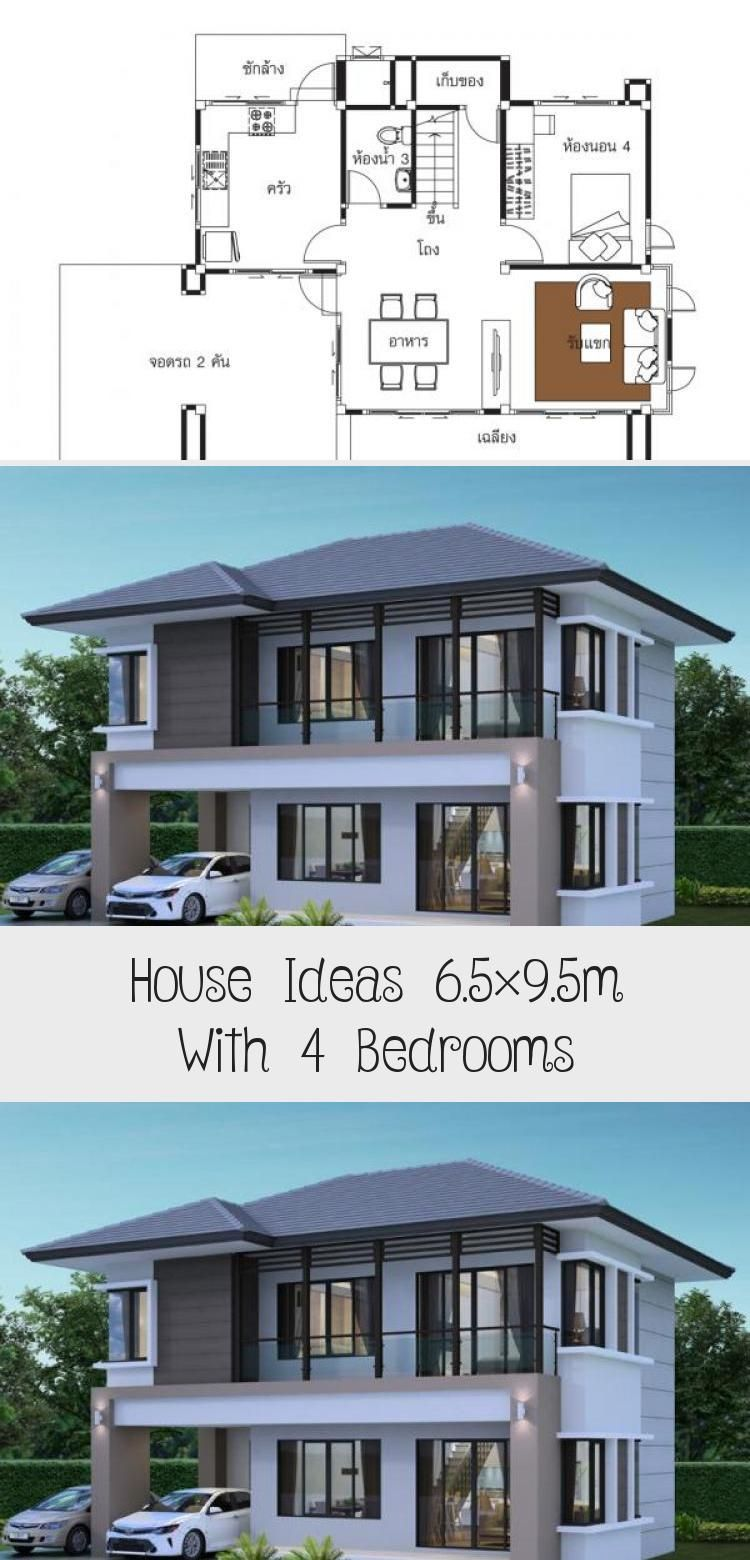 House Ideas 6 5x9 5m With 4 Bedroomshouse Description Ground Level One Bedroom One Car Parking Living Room Dining In 2020 House Modern Bedroom Modern Architecture