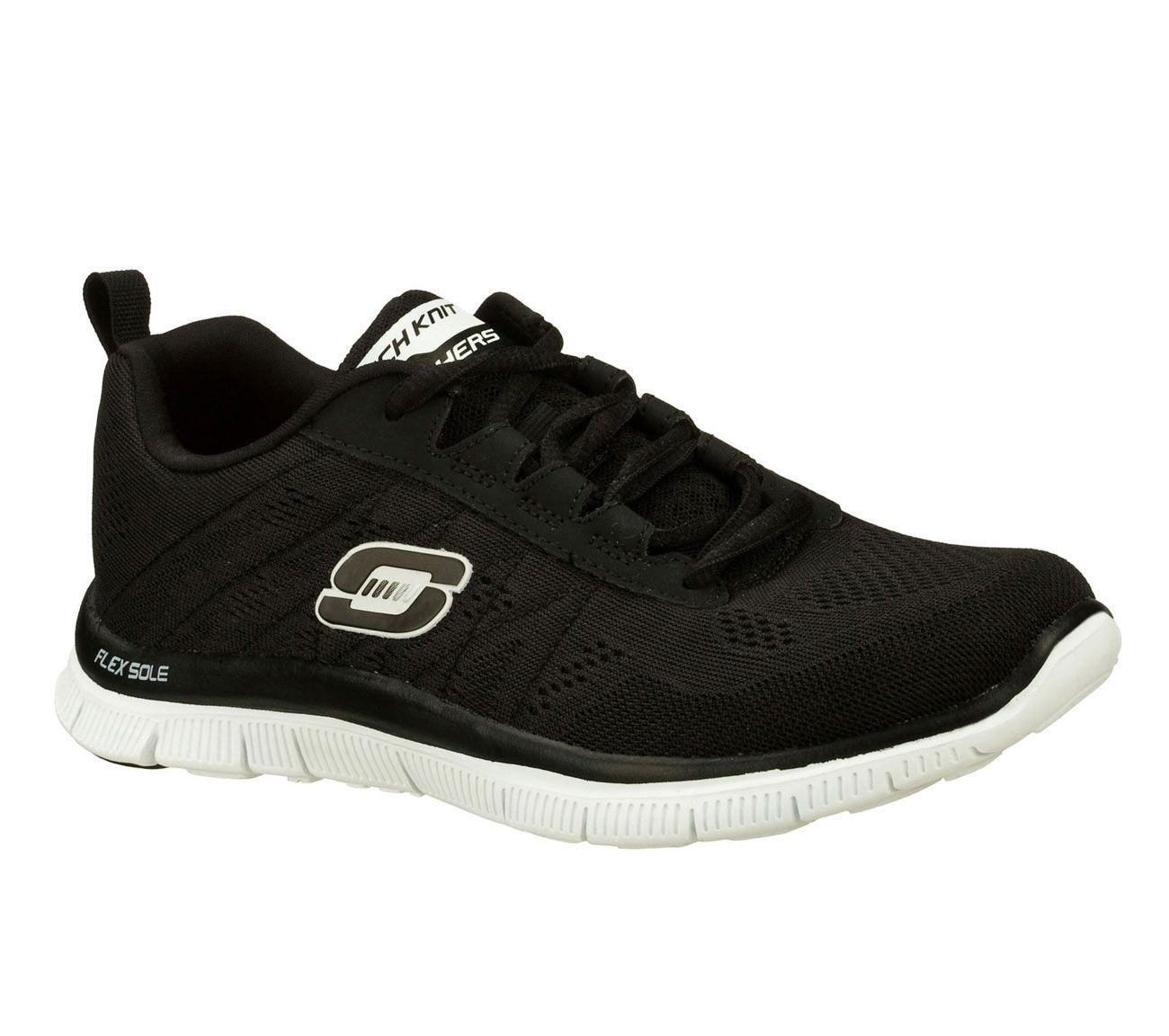 Skechers Get Connected Memory Foam Womens Running Shoes Fitness Trainers Black