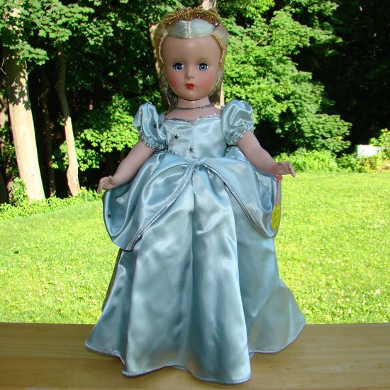 1950-51 Madame Alexander Cinderella Doll Blue Ball Gown Margaret Face All Original 14""