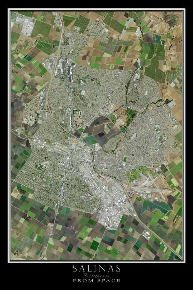 Salinas California Satellite Poster Map Salinas