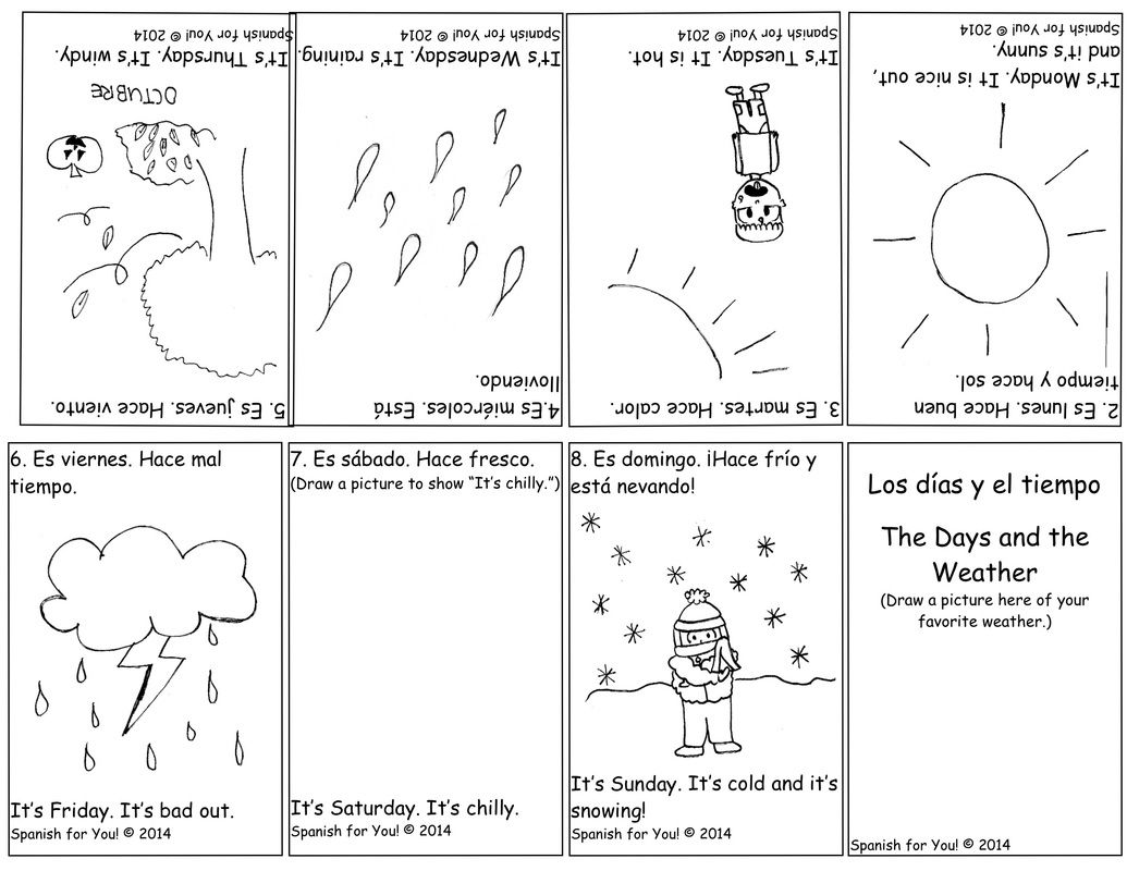 FREE Spanish Days and Weather Bilingual Booklet plus AUDIO Cute – Spanish Weather Worksheet