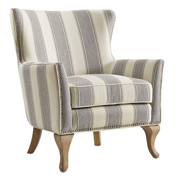 Best Avenue Greene Terri Accent Chair Blue Striped Fabric 400 x 300