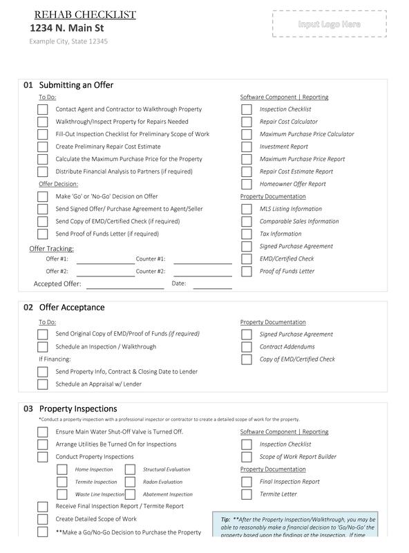 rehab house flipping checklist