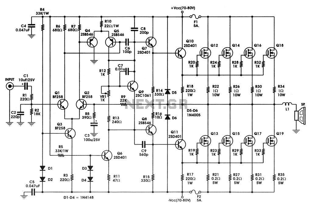 Schemi Elettrici Amplificatori Audio Con N : W mosfet audio amplifier circuit using irfp diagram