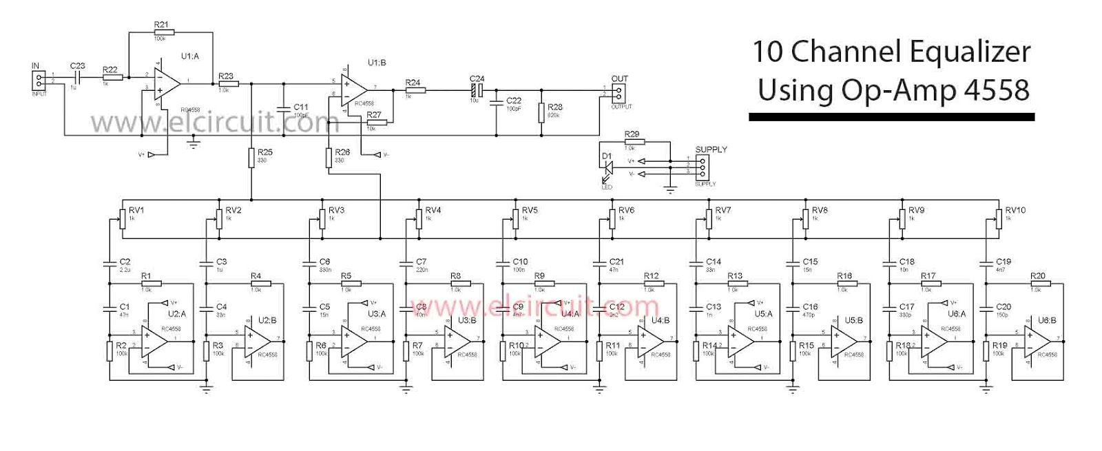 hight resolution of 10 channel equalizer using 4558 ic electronic circuit