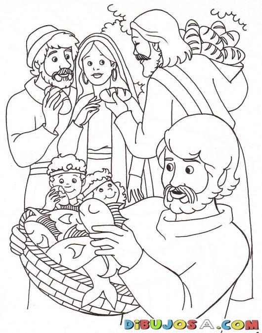 Colorear los peces y los panes de Jesus | COLOREAR BIBLICOS | Dibujo ...